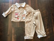 Size 6-9m brown EMBROIDERED DOG PRINT SHIRT and PANT set by FISHER PRICE