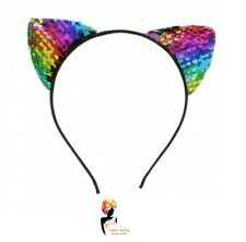 RAINBOW  Headband SEQUIN CAT EARS Animal Pony Cat Ears Pride LGBT Fancy Dress