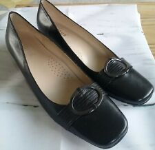 BNWT Ladies Black Leather Court Shoes Size 7 Smart Work School Teacher