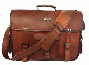 """Men's Leather Logo Messenger Shoulder 16"""" Case Laptop Briefcase Satchel Bag"""