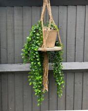Macrame Style Flower Plant Pot Hanger & Wood Slice Base Hanging Planter Basket