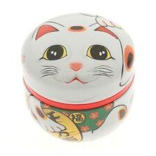 Boite à thé Chazutsu chat japonais maneki neko made in Japan blanche 40613