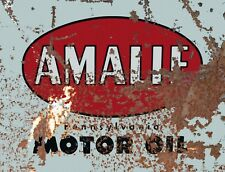 """TIN SIGN """"Amalie Motor"""" Gas-Oil Games Signs  Rustic Wall Decor"""