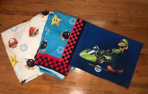 *RARE* 2010 NINTENDO Super Mario Bros Twin Size Sheet Set Bombs Stars Mushrooms
