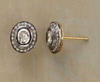 Fine Earrings Natural Diamond Polki Rose Cut Diamond & 18k Gold Sterling Silver