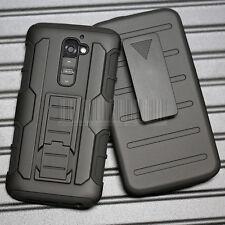 BLACK Armor Impact Hard Case BELT CLIP HOLSTER COVER FOR LG Optimus G2 D802 D801