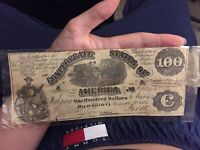 1861 Confederate States of America $100 bill