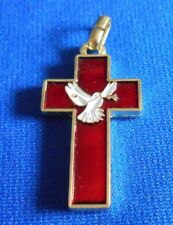 Vintage Jewelry Cross Pendant Gold metal Enameled red ? Dove Olive branch