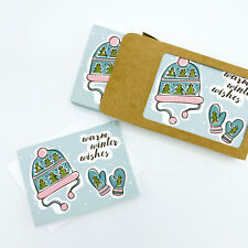 Winter Wishes Hat and Mittens Set of 10 Illustrated Boxed Holiday Note Cards