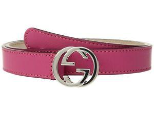 NWT NEW Gucci girls boys GG buckle belt S M L bluegreen pink yellow 258395