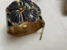 J CREW Vintage Cuff Bracelet Encrusted with a Flower with Rhinestones MINT