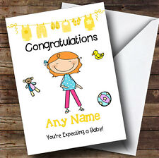 Red Haired Mum To Be Expecting A Baby Personalised Pregnancy Greetings Card