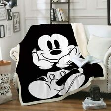 3D Mickey Mouse Black White Velvet Plush Throw Blanket Bedding Thick Quilt