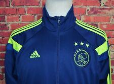 AJAX AMSTERDAM Adidas 2014/15 Tracksuit Soccer Top Jacket 3 Stripe Blue Sz Large