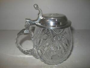 Bleikristall Glas Krug Humpen Zinnkrug Deko Sternschliff - 940g schwer!