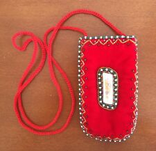 RED SOFT VELVET SMALL BEADED POUCH - PURSE