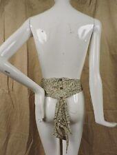Antique Edwardian Print Silk Belt For Dress W Drawnwork Trim Tails