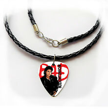 MICHAEL JACKSON MJ BAD king of pop guitar pick plectrum LEATHER NECKLACE 20""