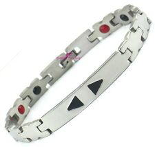 Unisex Mens Bio 4in1 Healing Magnetic Therapy ID Bracelet ARTHRITIS Pain Relief