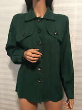 Auth. Vintage YVES SAINT LAURENT YSL Rive Gauche Green Wool Shirt Blouse 38