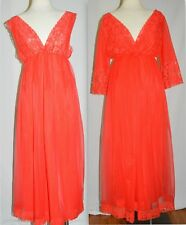 Vtg Sexy Long Red Nightgown Robe Lace 2 pc Peignoir Set Sz Large Chic Lingerie