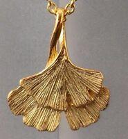 Anhänger Doppel Ginkgoblatt Ginkgo 925 Sterling Silber vergoldet Ginkoblatt Gold