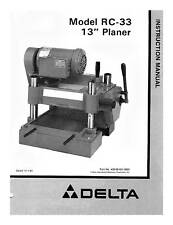 "Delta 13"" Planer Instruction Manual Model 22-650 RC-33"