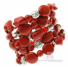 Rustic Adjustable Chunky Firecracker Faux Coral Stone Red Silver Coil Bracelet