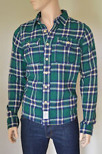 Nueva Abercrombie & Fitch Henderson Lago Franela Camisa Verde Nv Plaid Xxl RRP £ 120