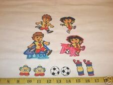 10 pc Dora and Diego Soccer Fabric Applique Iron On Ons