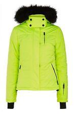 Topshop SNO neon ski jacket soft black faux fur hood BNWT Size 10 Rare!