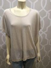 J Jill Sweater M/L Off White Beige Linen Blend Poncho Sweater Hi Low Tunic Top