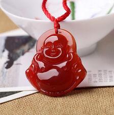 "Natural red agate ""Maitreya Buddha"" pendant amulet patron saint"