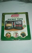 Coleman 16 Piece Picnic Tote Camping RV Cutting Board Utensils Bottle Opener NEW