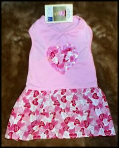 NWT Pet Dog East Coast Collections Valentines Pink Sequin Dress  S/M  Med