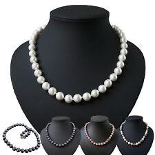 Perlenkette Muschelkern Perlen 10mm Collier Braut Hochzeit 46cm Schmuck KV32