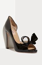 sz 7 / 37 Valentino Couture Bow d'Orsay Black Patent Leather Platform Pump Shoe