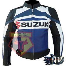 SUZUKI GSX BLUE MOTORBIKE MOTORCYCLE COWHIDE LEATHER JACKET AND MATCHING GLOVES