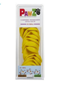 PAWZ Rubber Waterproof Yellow DOG BOOTS - Size: XXS (12 in pack) - NEW