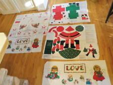 Christmas Puppy Kitten Angel Jolly Santa Cut Sew Doll Applique 5 Panel Lot  A91k