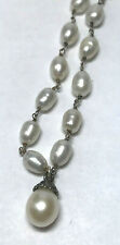 Vintage 18in Necklace w/Cultured Freshwater Pearl Throughout 925 Sterling Silver
