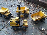Vintage 1980's TONKA Pressed Steel TURBO DIESEL DUMP TRUCK LOT of (4)