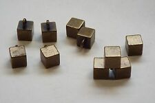 10pc 6mm Old Gold Square Cubed Metal Shirt Coat Cardigan Knitwear Button 3671