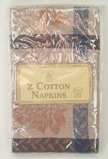 Sultans Linens 2 Cotton Napkins New Navy and Brown Beige Floral 100% Cotton