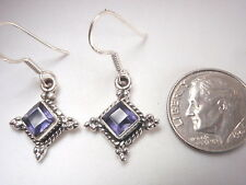 Iolite Faceted Squares w/ Rope Style Accents 925 Sterling Silver Earrings