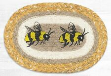 HONEY BEES 100% Natural Braided Jute Oval Swatch Trivet/Placemat, Earth Rugs