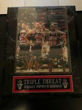 Triple Threat Jordan, Pippen & Rodman Chicago Bulls Plaque