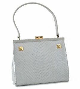 Authentic GIANNI VERSACE Leather Shoulder Hand Bag Light Green D9825