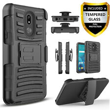 For LG Stylo 5 5X Plus 5V Phone Case, Belt Clip +Tempered Glass Screen Protector