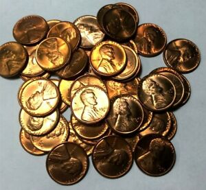 1947-D LINCOLN CENT ROLL CHOICE TO GEM+ ORIGINAL RED LUSTER 50 PIECES!!